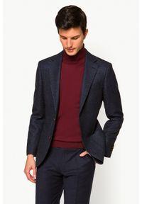 Lancerto - Marynarka Granatowa Formosa. Typ kołnierza: golf. Kolor: niebieski. Materiał: jeans, wiskoza, wełna, tkanina, jedwab, poliester. Wzór: melanż