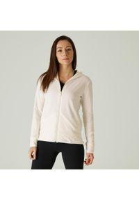 NYAMBA - Bluza na zamek z kapturem fitness. Typ kołnierza: kaptur. Kolor: biały. Materiał: bawełna, materiał, elastan. Sport: fitness