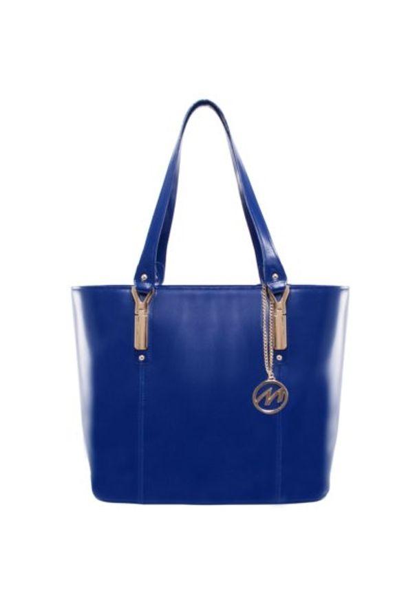 Torba na laptopa MCKLEIN Savarna 15 cali Granatowy. Kolor: niebieski. Materiał: skóra. Wzór: aplikacja, paisley. Styl: biznesowy, elegancki