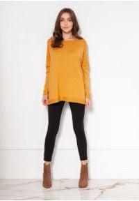 Lanti - Lekki Wiskozowy Sweter w Łódkę - Musztardowy. Kolor: żółty. Materiał: wiskoza