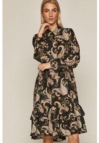 Czarna sukienka medicine mini, casualowa, z długim rękawem, prosta