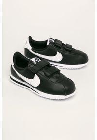 Czarne buty sportowe Nike Kids na rzepy, z okrągłym noskiem, Nike Cortez, z cholewką