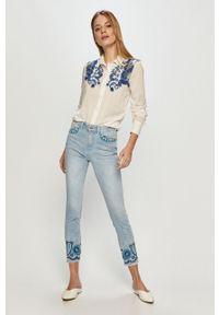 Niebieskie jeansy Desigual z haftami