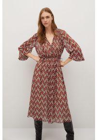 Czerwona sukienka mango midi, na co dzień, z długim rękawem