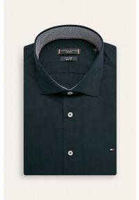 Niebieska koszula Tommy Hilfiger Tailored elegancka, z włoskim kołnierzykiem, długa