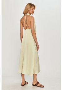 Samsoe & Samsoe - Samsoe Samsoe - Sukienka. Kolor: zielony. Materiał: tkanina, poliester. Wzór: gładki. Typ sukienki: rozkloszowane #5