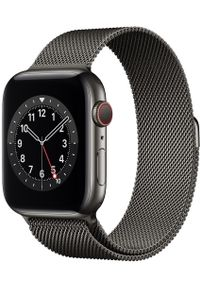 APPLE - Apple smartwatch Watch Series 6 Cellular, 44mm Graphite Stainless Steel Case with Graphite Milanese Loop. Rodzaj zegarka: smartwatch. Kolor: szary