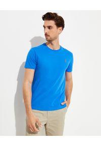 Ralph Lauren - RALPH LAUREN - Niebieski t-shirt Custom Fit. Typ kołnierza: polo. Kolor: niebieski. Materiał: bawełna