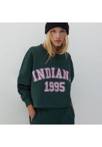 Reserved - Bluza z nadrukiem - Turkusowy. Kolor: turkusowy. Wzór: nadruk