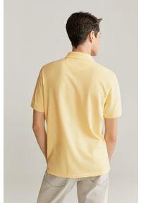 Żółta koszulka polo Mango Man krótka, casualowa, polo, na co dzień