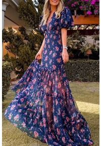 Wielokolorowa długa sukienka IVET w kwiaty, na lato