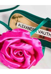 ALEXANDRE VAUTHIER - Zielone sandały Laurel. Zapięcie: pasek. Kolor: zielony. Materiał: satyna. Wzór: kwiaty