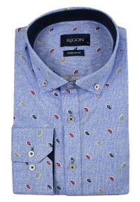 Niebieska elegancka koszula Rigon paisley, do pracy