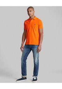 Ralph Lauren - RALPH LAUREN - Pomarańczowy t-shirt polo Classic Fit. Typ kołnierza: polo. Kolor: pomarańczowy. Materiał: bawełna. Wzór: haft #3