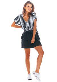 Infinite You - Czarna Rozkloszowana Mini Spódnica z Falbanką. Kolor: czarny. Materiał: bawełna, lycra