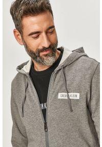 Szara bluza rozpinana Calvin Klein Performance z nadrukiem, z kapturem, na co dzień, casualowa