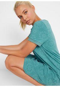 Sukienka shirtowa, krótki rękaw bonprix dymny szałwiowy. Kolor: zielony. Długość rękawa: krótki rękaw