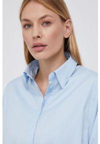 Mos Mosh - Koszula. Okazja: na co dzień. Kolor: niebieski. Materiał: tkanina. Długość rękawa: długi rękaw. Długość: długie. Wzór: gładki. Styl: casual