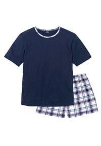 Piżama z krótkimi spodniami bonprix ciemnoniebieski w kratę. Kolor: niebieski. Długość: krótkie