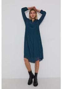 Samsoe & Samsoe - Samsoe Samsoe - Sukienka. Okazja: na co dzień. Kolor: zielony. Materiał: włókno, tkanina, materiał. Długość rękawa: długi rękaw. Wzór: gładki. Typ sukienki: proste. Styl: casual #3