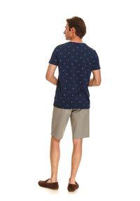 Niebieski t-shirt TOP SECRET wakacyjny, krótki, na lato, z klasycznym kołnierzykiem