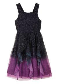 Sukienka dziewczęca z połyskiem na uroczyste okazje bonprix ciemnoniebiesko-głęboki fioletowy. Kolor: niebieski