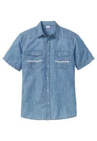 """Koszula dżinsowa z krótkim rękawem bonprix niebieski """"stone"""". Kolor: niebieski. Długość rękawa: krótki rękaw. Długość: krótkie. Wzór: haft"""