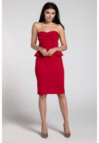 Czerwona sukienka na wesele Nommo w kwiaty, gorsetowa, z gorsetem, wizytowa