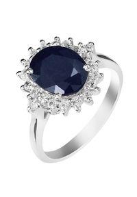 Braccatta - KATE Srebrny pierścionek z dużym szafirem owal 4 ct.. Materiał: srebrne. Kolor: srebrny. Kamień szlachetny: szafir