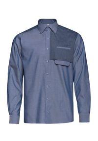 Niebieska koszula casual VEVA długa, z klasycznym kołnierzykiem, na co dzień