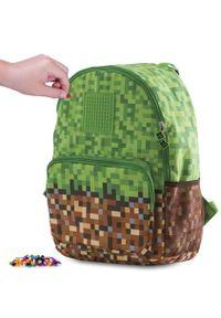 Pixie Crew plecak Minecraft zielono-brązowy. Kolor: zielony. Materiał: materiał, poliester. Wzór: paski. Styl: casual