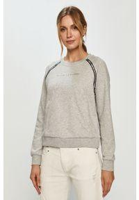 Szara bluza Armani Exchange z nadrukiem, z długim rękawem, długa, bez kaptura