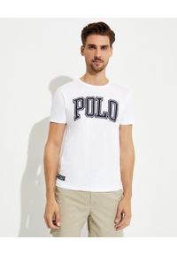 Ralph Lauren - RALPH LAUREN - Biały t-shirt z bawełny Slim Fit. Typ kołnierza: polo. Kolor: biały. Materiał: bawełna. Wzór: napisy, aplikacja