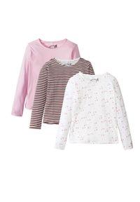 Różowa bluzka bonprix z długim rękawem, w paski, długa