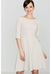 e-margeritka - Klasyczna sukienka przed kolano beżowa - m. Kolor: beżowy. Materiał: wiskoza, materiał, poliester. Typ sukienki: rozkloszowane. Styl: klasyczny
