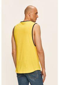 Żółty t-shirt TOMMY HILFIGER bez rękawów, z okrągłym kołnierzem