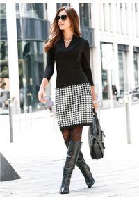 Czarna sukienka bonprix biznesowa, dopasowana