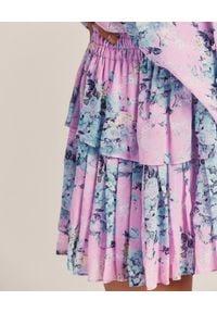LOVE SHACK FANCY - Wzorzysta mini spódnica Ruffle. Kolor: wielokolorowy, różowy, fioletowy. Materiał: jedwab. Wzór: kwiaty