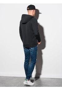 Ombre Clothing - Bluza męska rozpinana z kapturem B1157 - czarna - XXL. Typ kołnierza: kaptur. Kolor: czarny. Materiał: poliester, bawełna