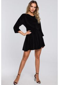 e-margeritka - Sukienka welurowa mini elegancka czarna - m. Kolor: czarny. Materiał: welur. Styl: elegancki. Długość: mini