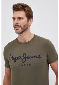 Pepe Jeans - T-shirt Original. Okazja: na co dzień. Kolor: zielony. Materiał: dzianina. Wzór: nadruk. Styl: casual