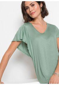 Shirt z rękawami z falbanami bonprix pastelowy zielony. Kolor: zielony. Długość rękawa: krótki rękaw. Długość: krótkie