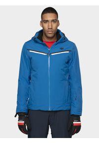 4f - Kurtka narciarska męska. Typ kołnierza: kaptur. Kolor: niebieski. Materiał: materiał, mesh, poliester. Sezon: zima. Sport: narciarstwo