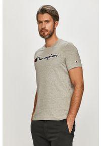 Szary t-shirt Champion na co dzień, z aplikacjami