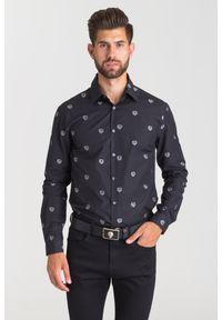 Czarna koszula Just Cavalli na lato, na spotkanie biznesowe