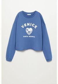 Niebieska bluza Mango Kids bez kaptura, z nadrukiem