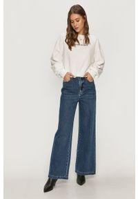 Biała bluza Pinko klasyczna, z długim rękawem, z nadrukiem, długa