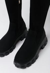 Born2be - Czarne Kozaki Lyvevis. Wysokość cholewki: za kolano. Zapięcie: sznurówki. Kolor: czarny. Szerokość cholewki: normalna. Styl: elegancki