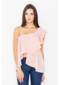 Figl - Różowa Bluzka na Jedno Ramię z Asymetryczną Falbanką. Kolor: różowy. Materiał: elastan, wiskoza, poliester