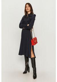Sportmax Code - Sukienka. Kolor: niebieski. Materiał: tkanina. Długość rękawa: długi rękaw. Wzór: gładki. Typ sukienki: rozkloszowane